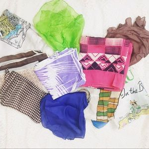10 Vintage Scarves And Hair Scarves 50s-70s Lot